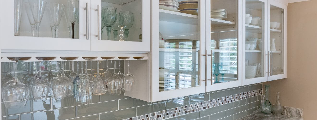 Glass front cabinets and wine glass rack