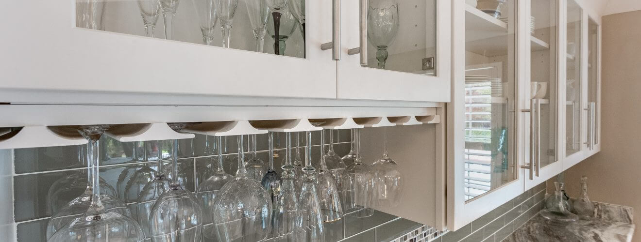 Custom display cabinets and wine glass storage