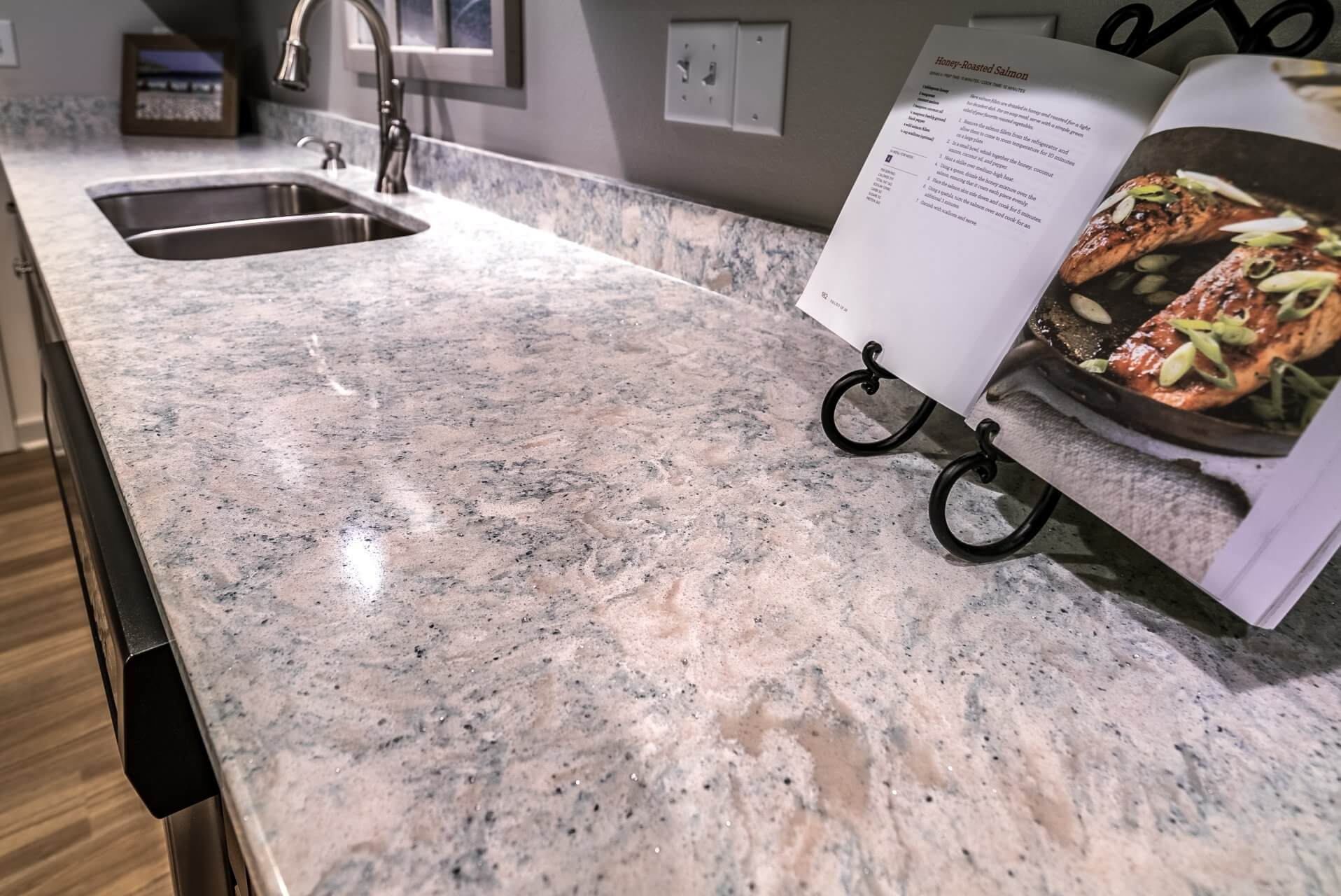 Transitional Style Kitchen detail of granite countertop