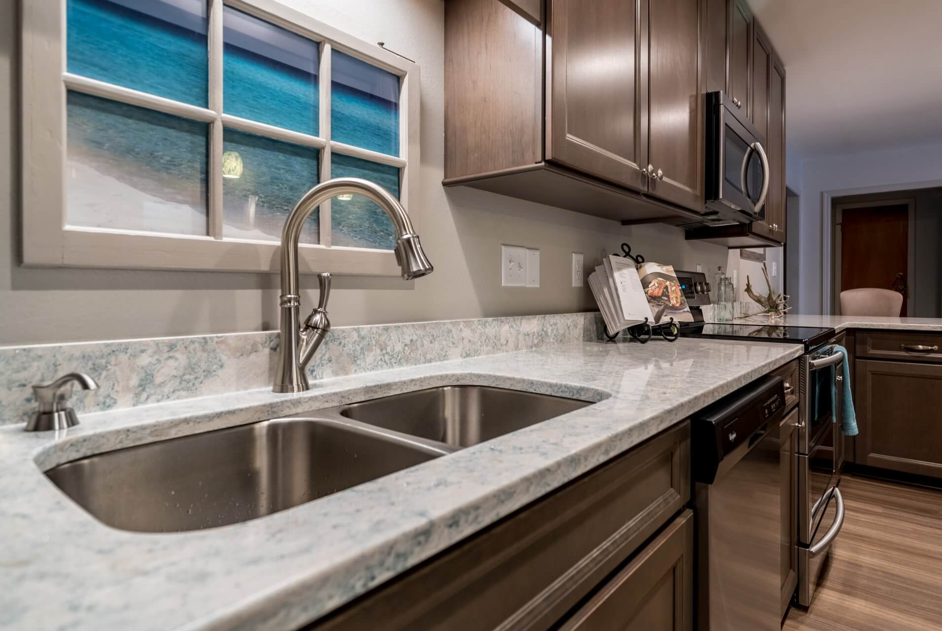 Transitional Style Kitchen double sink
