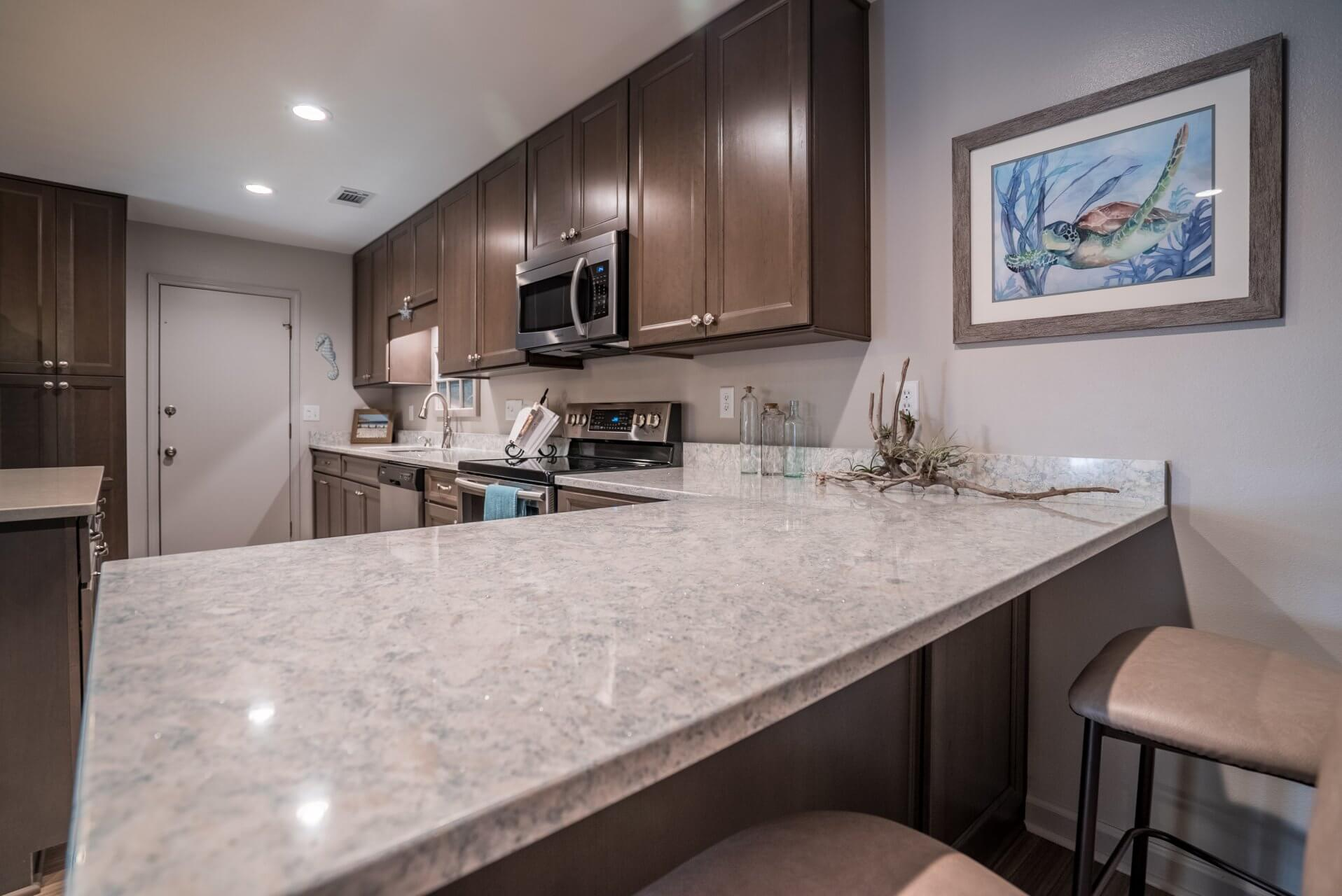 Transitional Style Kitchen view of bar countertop