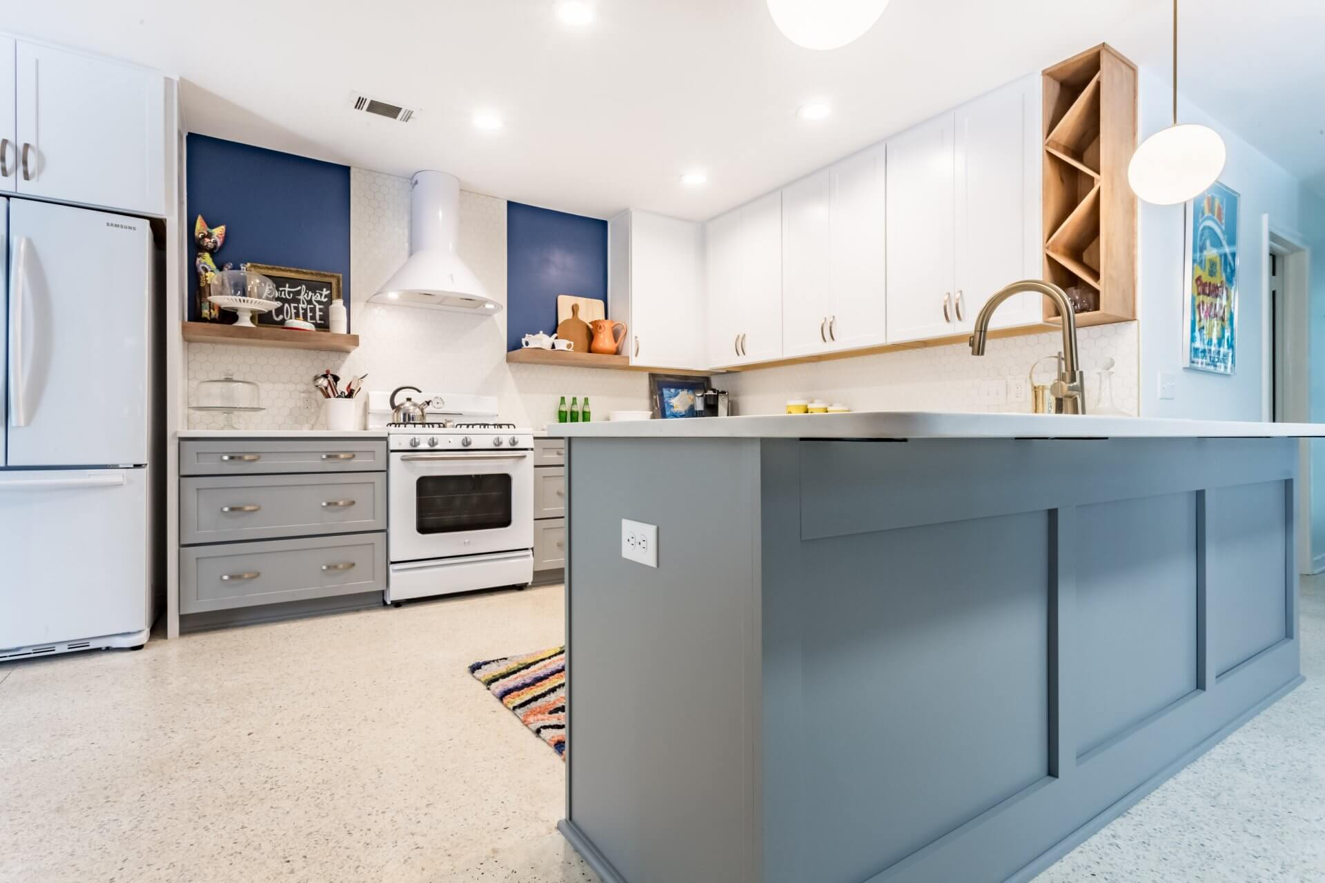 After: Mid-century modern kitchen remodel with island for eating and storage