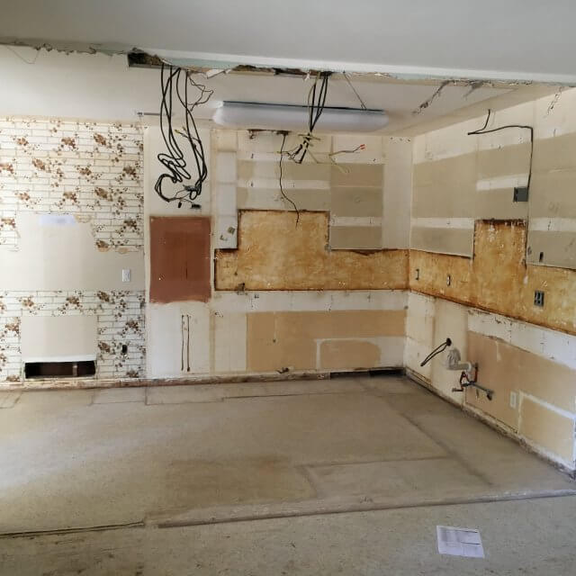 During: Another view of gutted kitchen ready for kitchen remodel