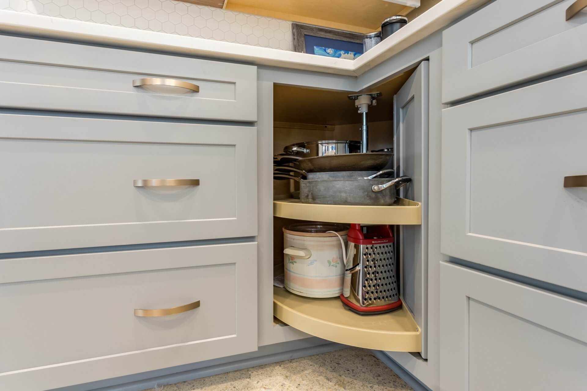 After: Mid-century modern kitchen remodel with rotating lazy susan corner cabinet