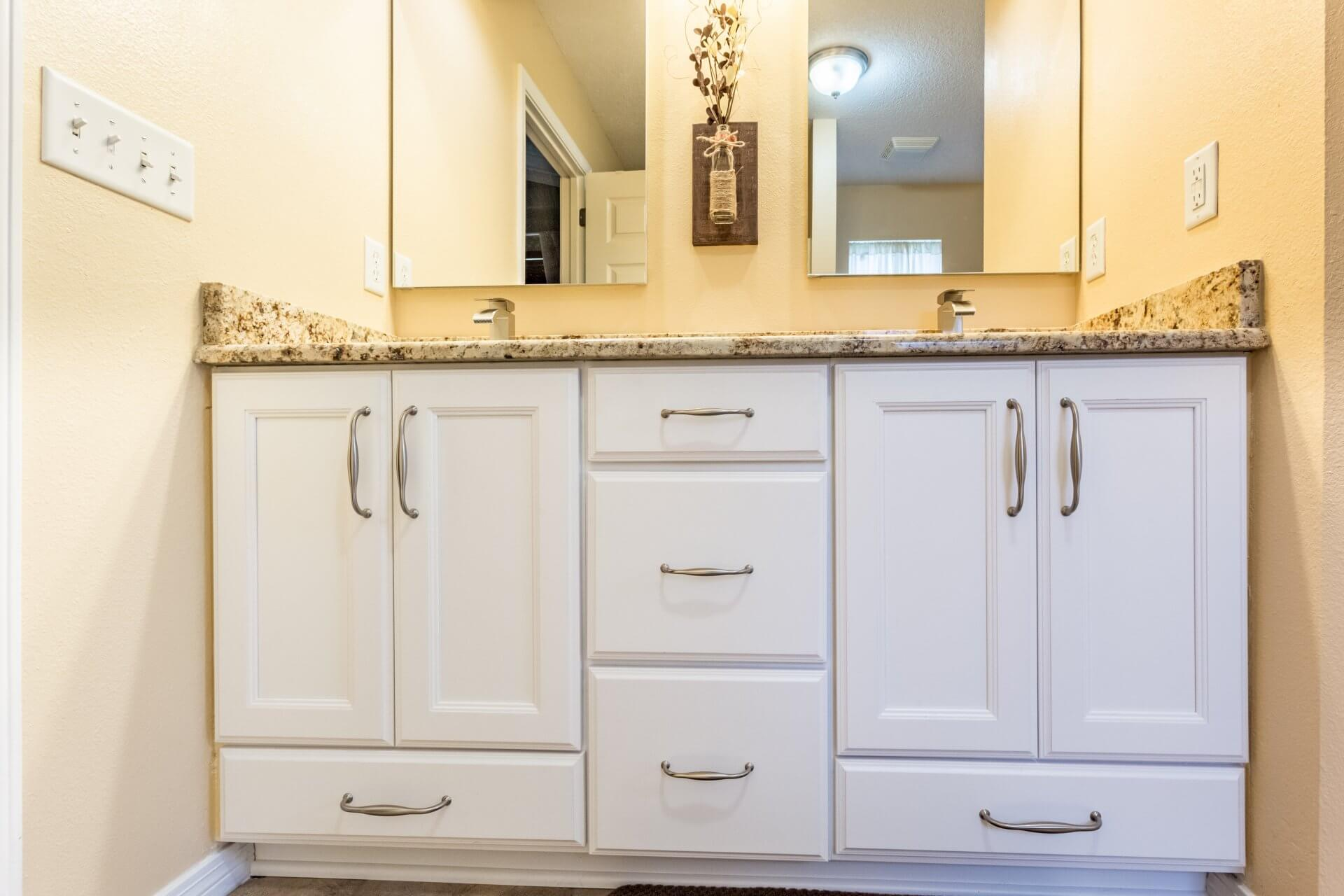 After: New cabinets in bathroom