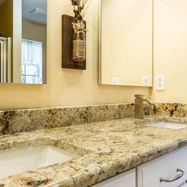 After - Updated bathroom counters and sinks