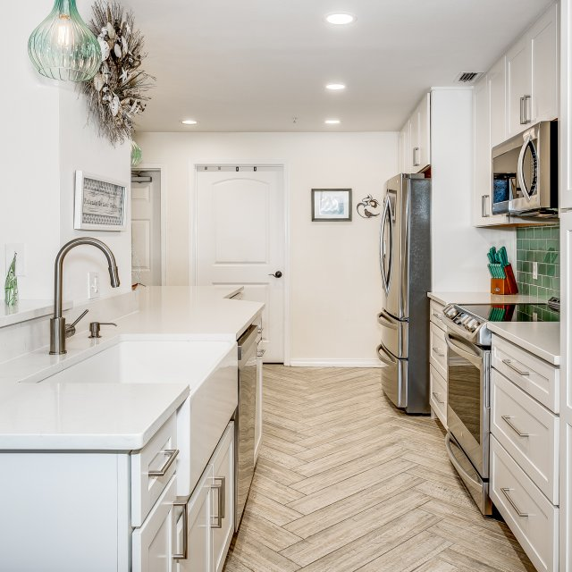 Open floor plan created by condo kitchen remodel