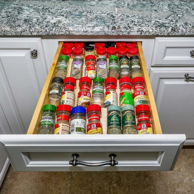 Drawer with spice rack in custom cabinetry